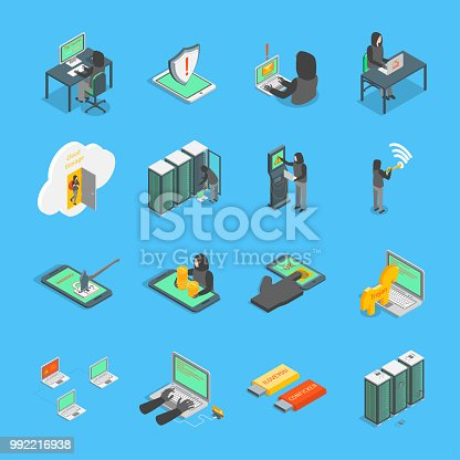 Hacker Signs 3d Icons Set Isometric View on a Blue Include of Computer, Virus, Money, Spy and Mobile. Vector illustration of Icon