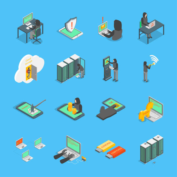 Hacker Signs 3d Icons Set Isometric View. Vector Hacker Signs 3d Icons Set Isometric View on a Blue Include of Computer, Virus, Money, Spy and Mobile. Vector illustration of Icon hacker stock illustrations