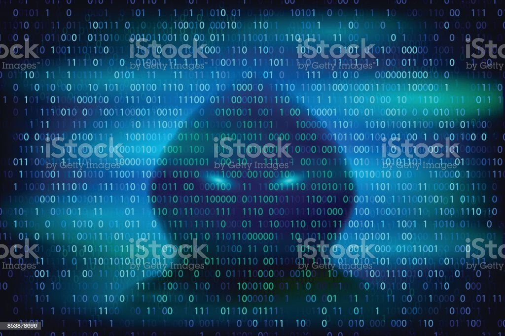 Hacker silhouette on the blue background with binary code texture. vector art illustration