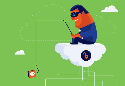 hacker sitting on cloud and phishing with speech bubble icon lure