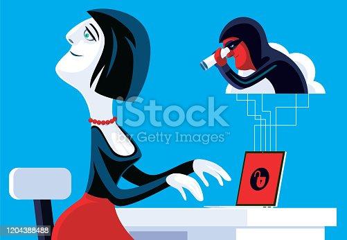 istock hacker spying woman via unlocked cloud computing 1204388488