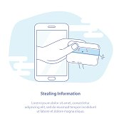 Hacker Stealing Credit Card Data - Email Viruses, Bank Account Hacking and Fraud Concept. Hand from smartphone steals a credit card. Isolated vector illustration.