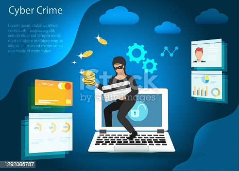 Hacker stealing credit card, financial information and gold coins from computer. Idea for digital online cyber crime, hacking, phishing, scam, malware and financial security concept.