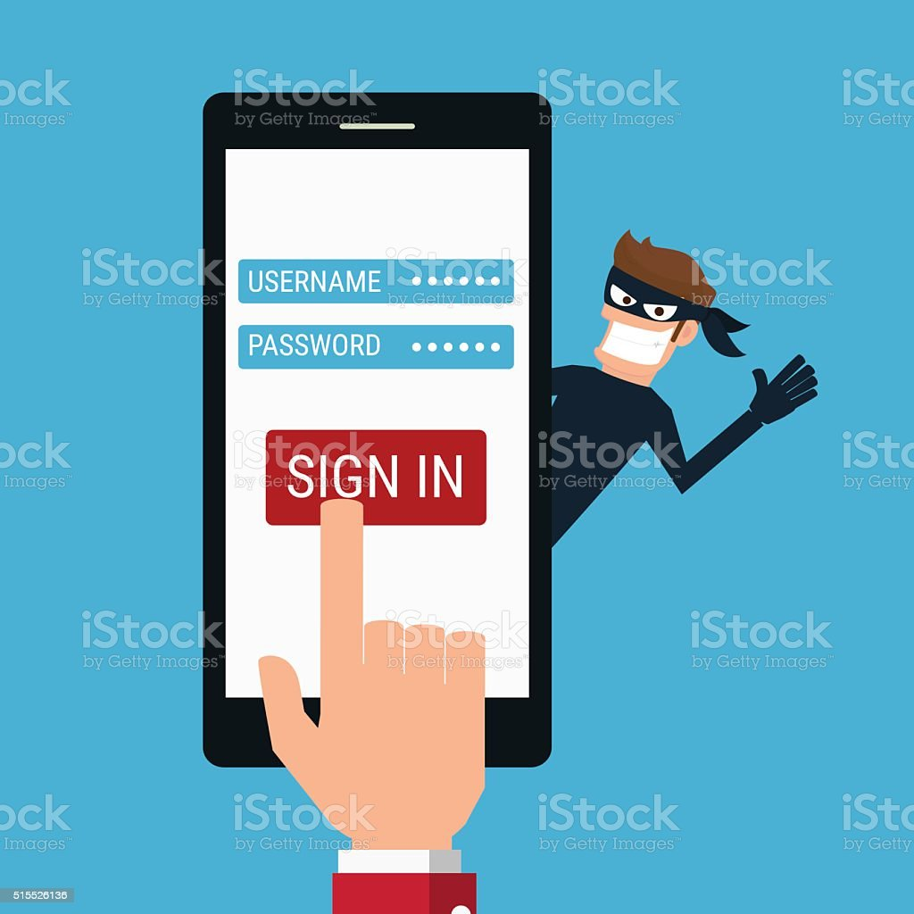 Hacker stealing sensitive data from smartphone.Concept hacking internet social network. vector art illustration