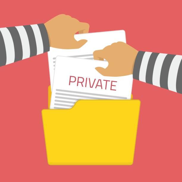 hacker takes files in folder. - identity theft stock illustrations, clip art, cartoons, & icons