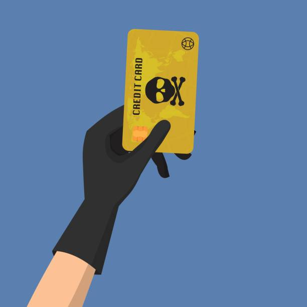Hacker theft hand holding a credit card fraud  with skull and crossbones on blue background. Vector illustration business data privacy concept. vector art illustration
