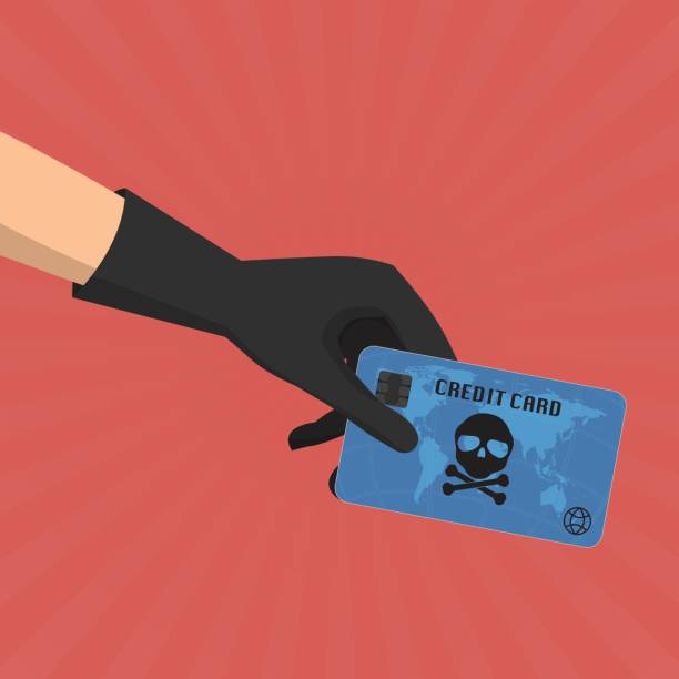 Hacker theft hand holding a credit card fraud  with skull and crossbones on sun ray background. Vector illustration business data privacy concept. vector art illustration