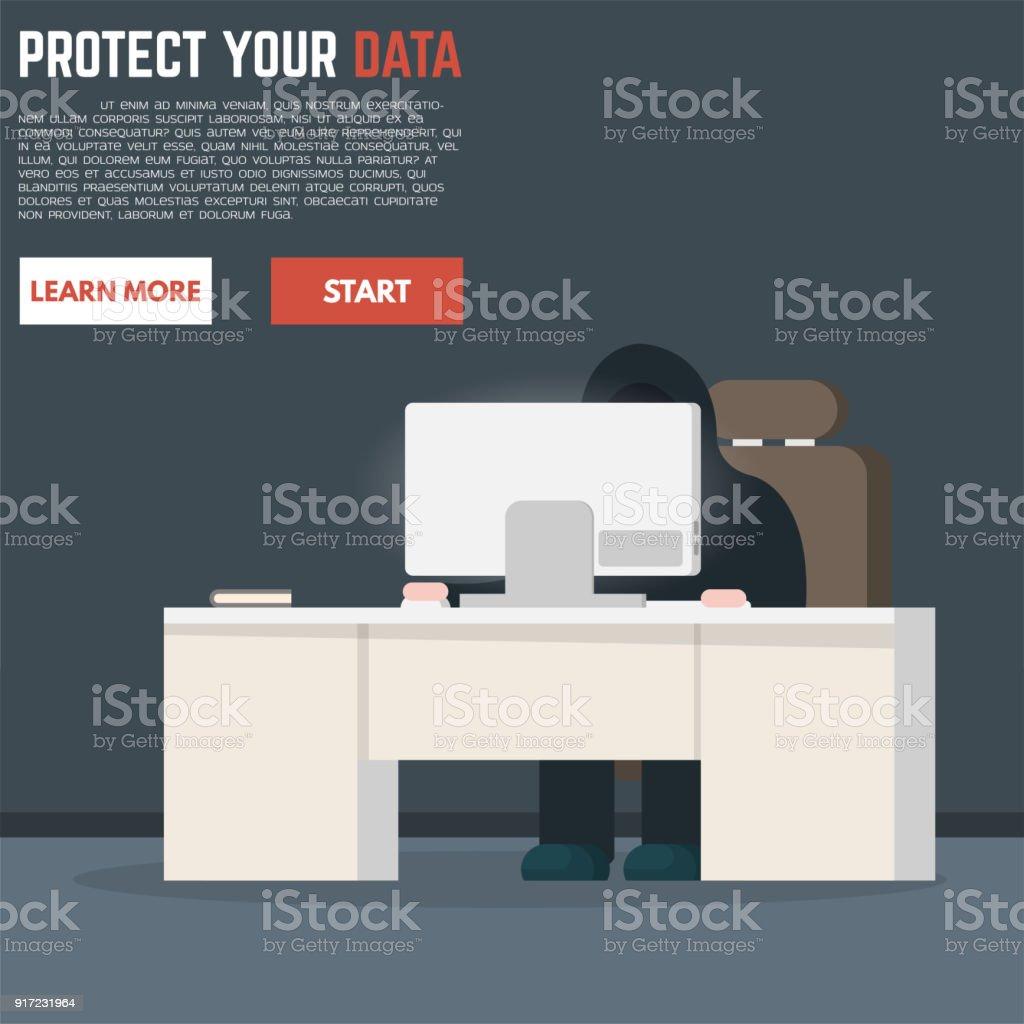Stehlen Design hacker versuchen daten zu stehlen vektor illustration 917231964 istock
