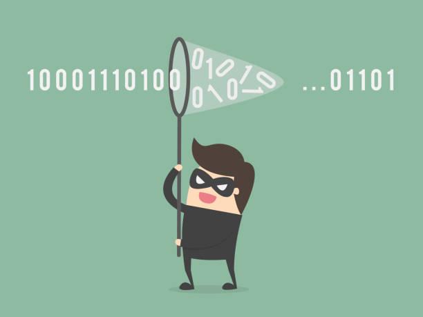 stockillustraties, clipart, cartoons en iconen met hacker. - steel