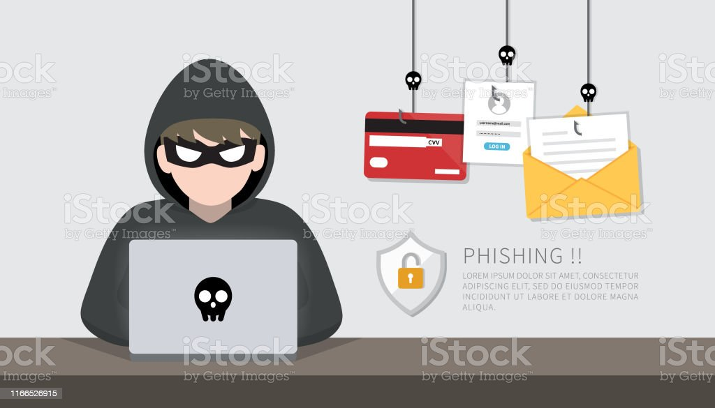 Hacker with laptop computer stealing confidential data, personal information and credit card detail. Hacking concept. - Векторная графика Anonymous - Organized Group роялти-фри