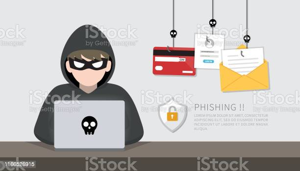 Hacker With Laptop Computer Stealing Confidential Data Personal Information And Credit Card Detail Hacking Concept — стоковая векторная графика и другие изображения на тему Anonymous - Organized Group