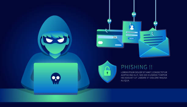 illustrazioni stock, clip art, cartoni animati e icone di tendenza di hacker with laptop computer stealing confidential data, personal information and credit card detail. hacking concept. - phishing