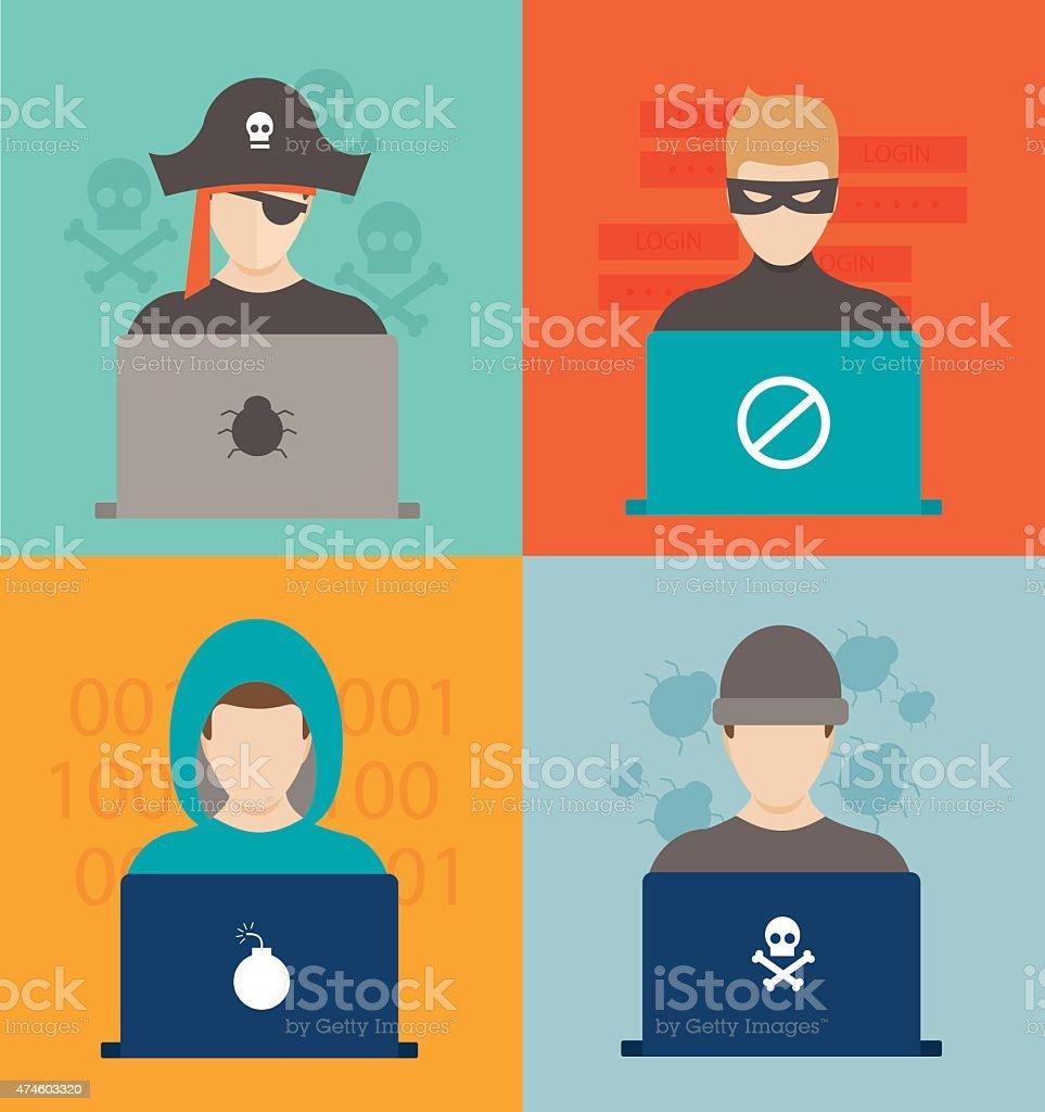 Hackers activity vector illustration vector art illustration