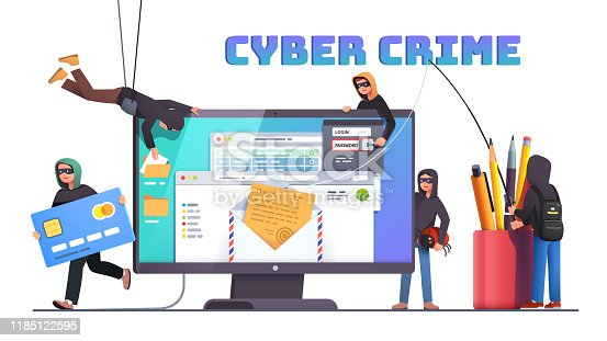 Hackers and cyber criminals phishing stealing private personal data, credentials, password, bank document email and credit card. Small anonymous hacker man attacking computer. Flat style vector isolated illustration