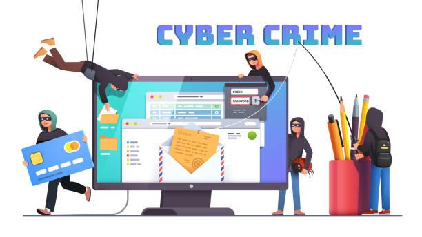 stockillustraties, clipart, cartoons en iconen met hackers en cybercriminelen phishing stelen prive persoonlijke gegevens, geloofsbrieven, wachtwoord, bankdocument e-mail en creditcard. kleine anonieme hacker man aanvallende computer. platte vector illustratie - steel