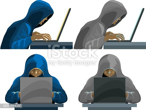 Hackers black hooded figures collection. Hacker, crime, laptop Vector illustration