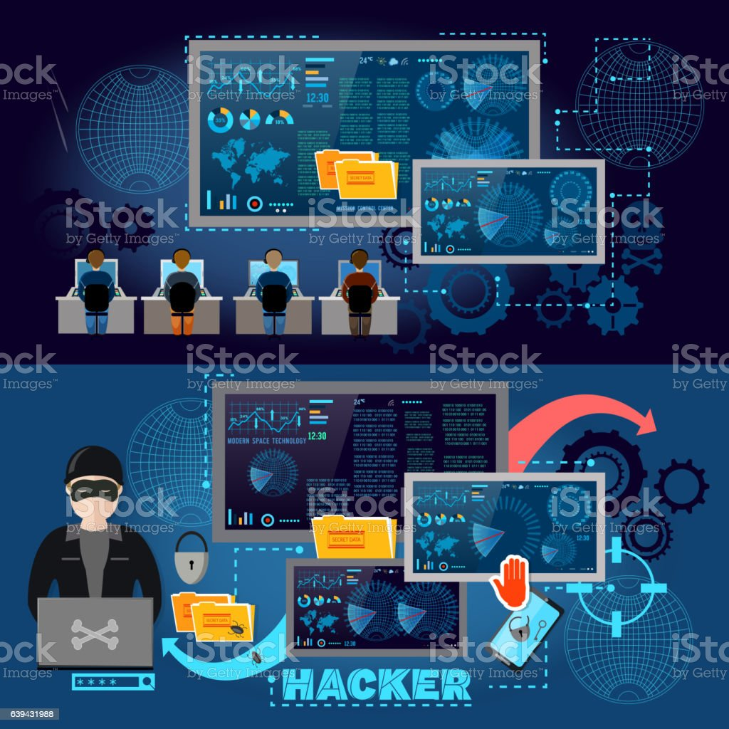 Hackers cyber army hacking and surveillance of computers vector art illustration