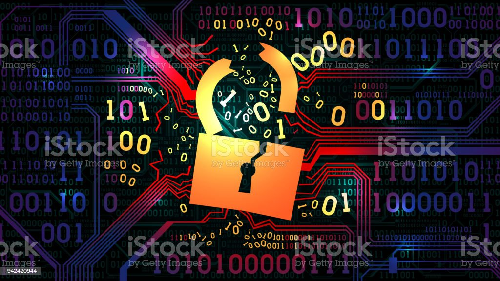 Hacking Abstract Firewall Antivirus Computer Protection Hacked Lock Against  The Background Of An Abstract Futuristic Electronic Board With Binary Code