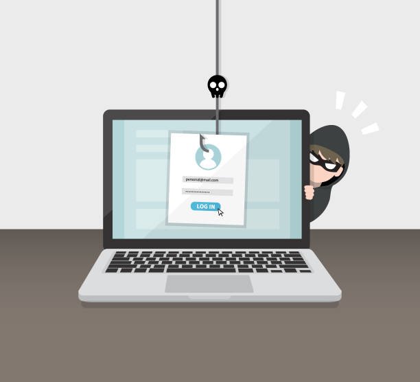 illustrazioni stock, clip art, cartoni animati e icone di tendenza di hacking account and password. account data phishing with cyber thief hide behind laptop computer. hacking concept. - phishing