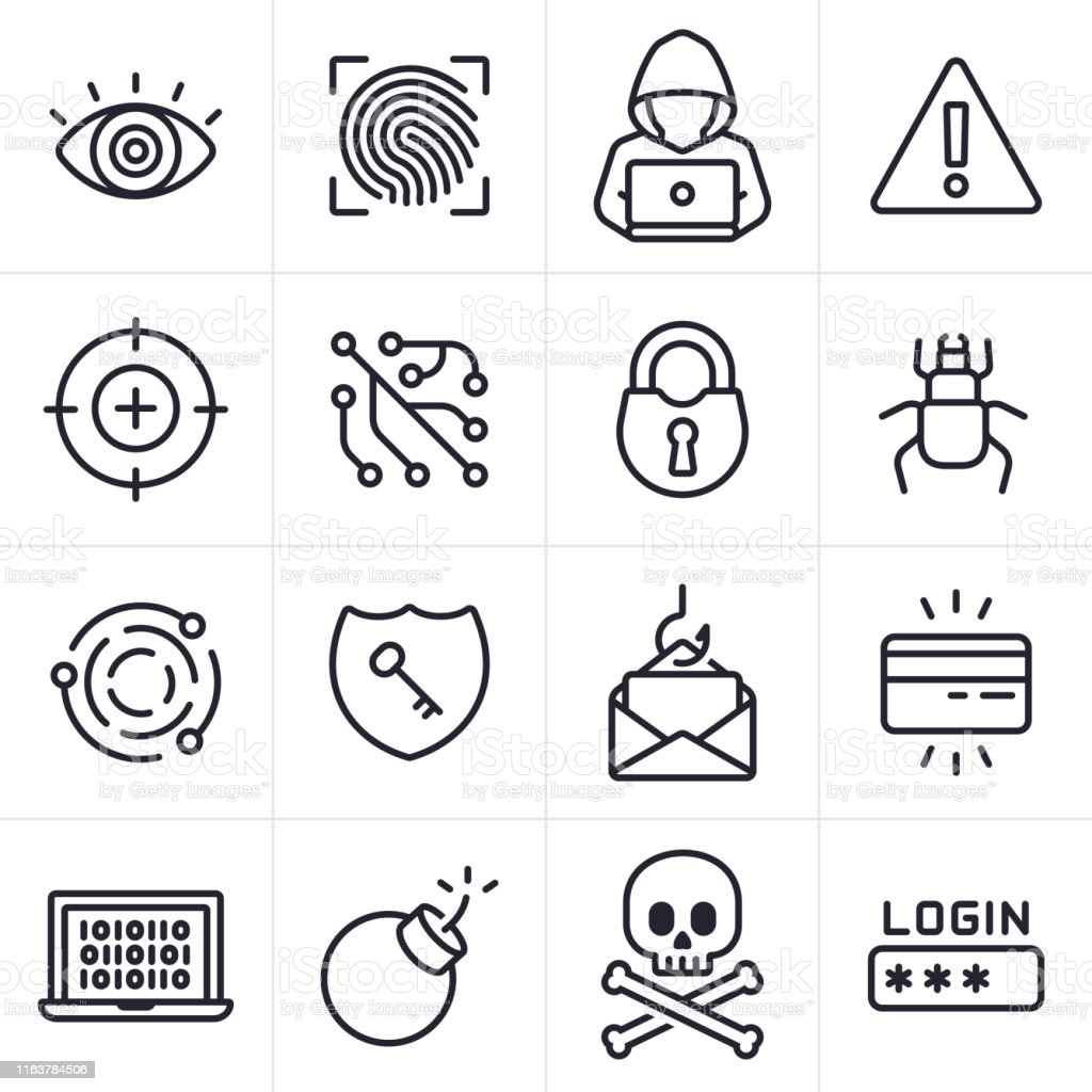 Hacking and Computer Crime Icons and Symbols - arte vettoriale royalty-free di Accesso al sistema
