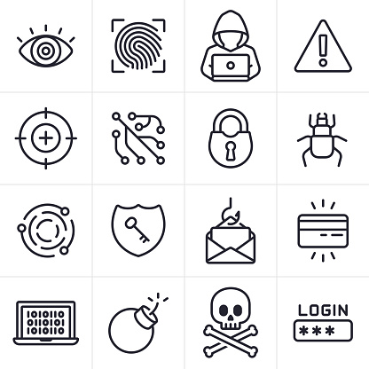 Hacking and Computer Crime Icons and Symbols