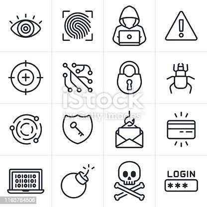 Hacking and computer crime icons and symbols collection.