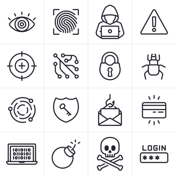 Hacking and Computer Crime Icons and Symbols Hacking and computer crime icons and symbols collection. computer crime stock illustrations