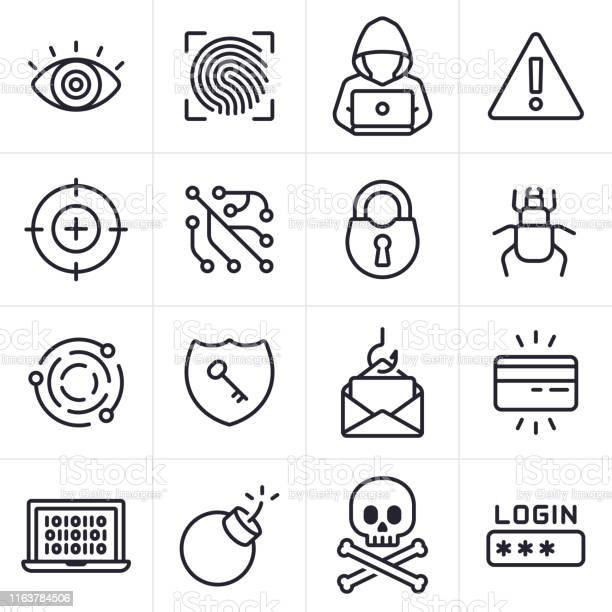 Pictogrammen En Symbolen Voor Hacking En Computer Criminaliteit Stockvectorkunst en meer beelden van Aanmelden