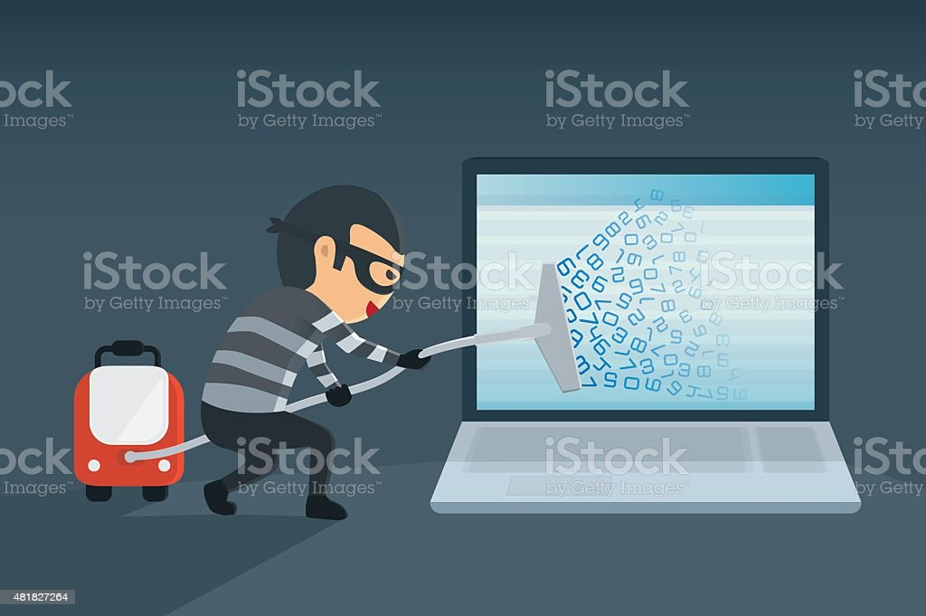 Hacking data for computer with vacuum. vector art illustration
