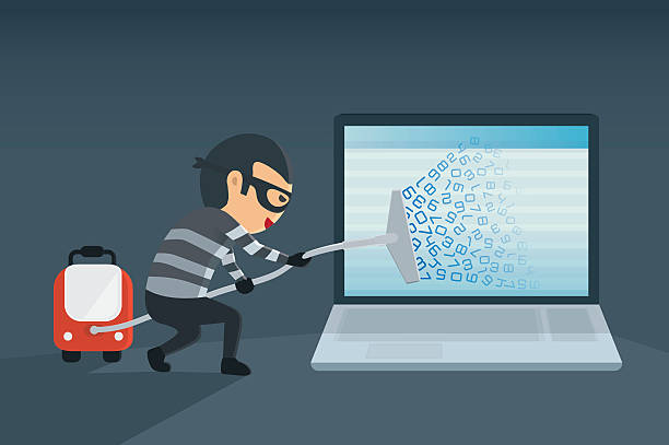 Hacking data for computer with vacuum. bandit robbery password and data for computer with vacuum. Concept hacking computer  hacker stock illustrations