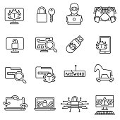 Hacking icons set. Cybersecurity, thin line design. Hacking database, linear symbols collection. Bypass protection. computer hacking, isolated vector illustration