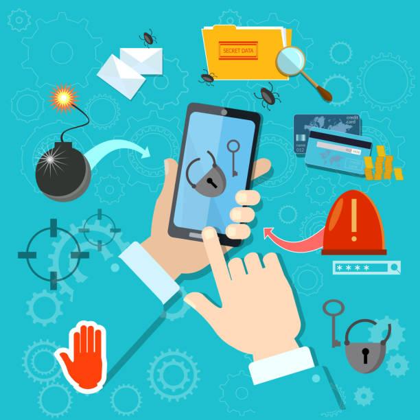 Hacking mobile smartphone in hand stealing passwords account vector art illustration