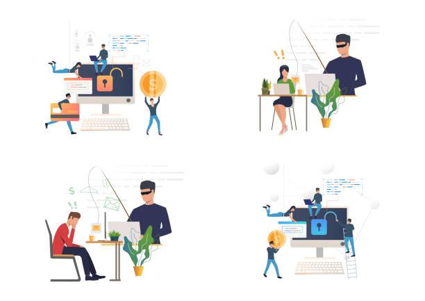 illustrazioni stock, clip art, cartoni animati e icone di tendenza di hacking or phishing set - phishing