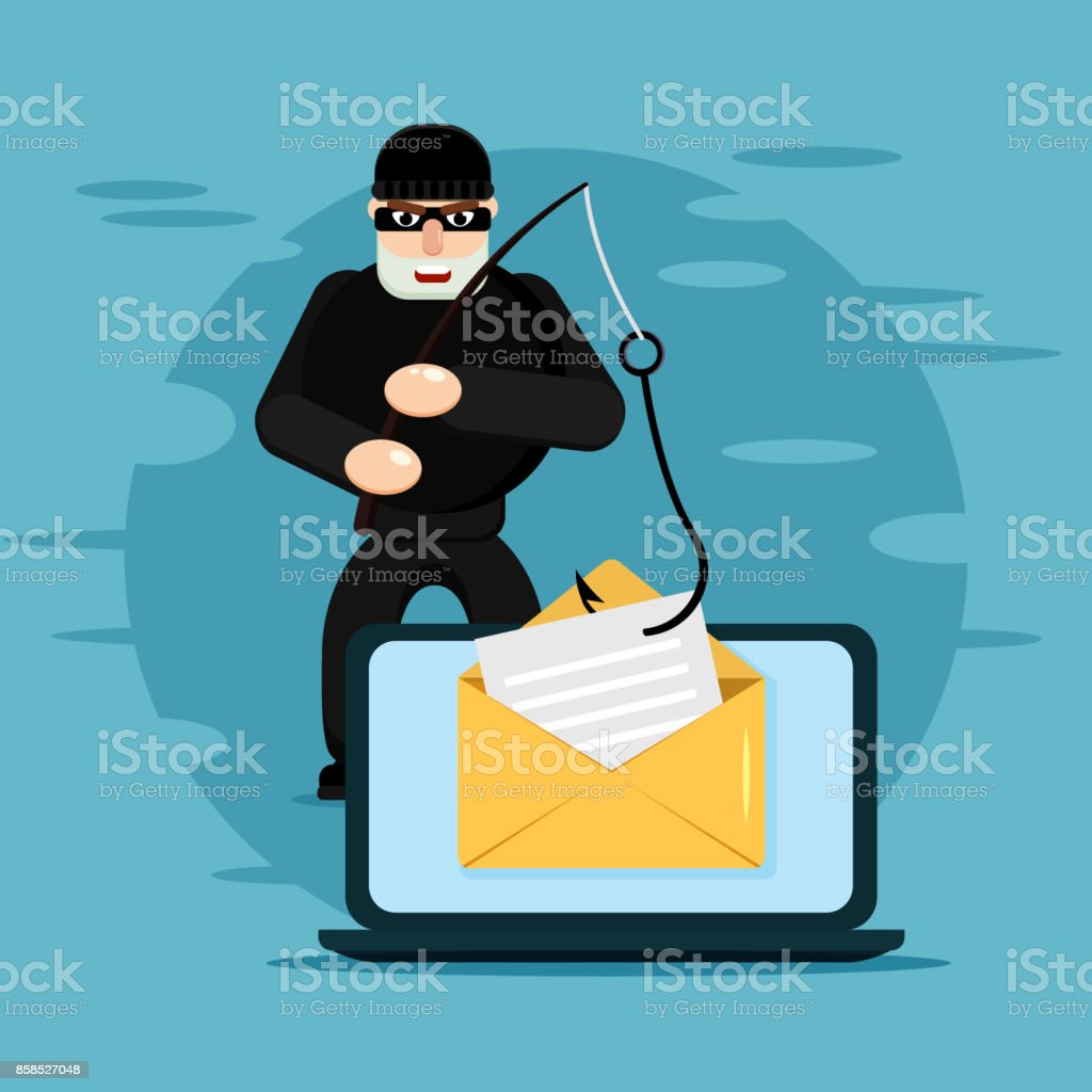 Hacking phishing attack. Flat illustration of thief hacking email message or personal information on the blue background vector art illustration