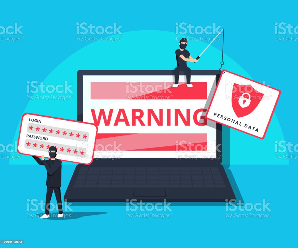 Hacking phishing attack. Flat vector illustration of young hacker sitting on the laptop to hack protection system. - arte vettoriale royalty-free di Affari