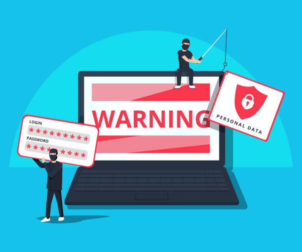 illustrazioni stock, clip art, cartoni animati e icone di tendenza di hacking phishing attack. flat vector illustration of young hacker sitting on the laptop to hack protection system. - phishing
