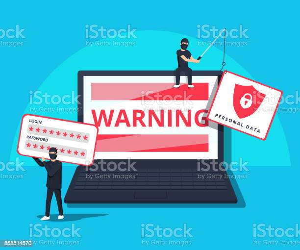 Hacking Phishing Attack Flat Vector Illustration Of Young Hacker Sitting On The Laptop To Hack Protection System - Immagini vettoriali stock e altre immagini di Affari