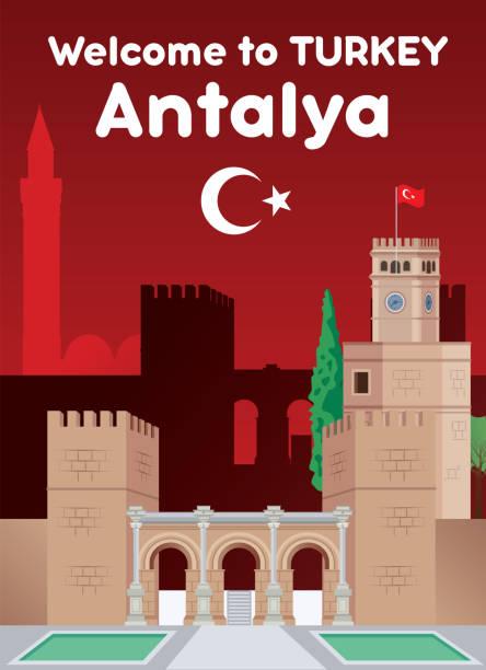 hadrians tor in antalya - alanya stock-grafiken, -clipart, -cartoons und -symbole
