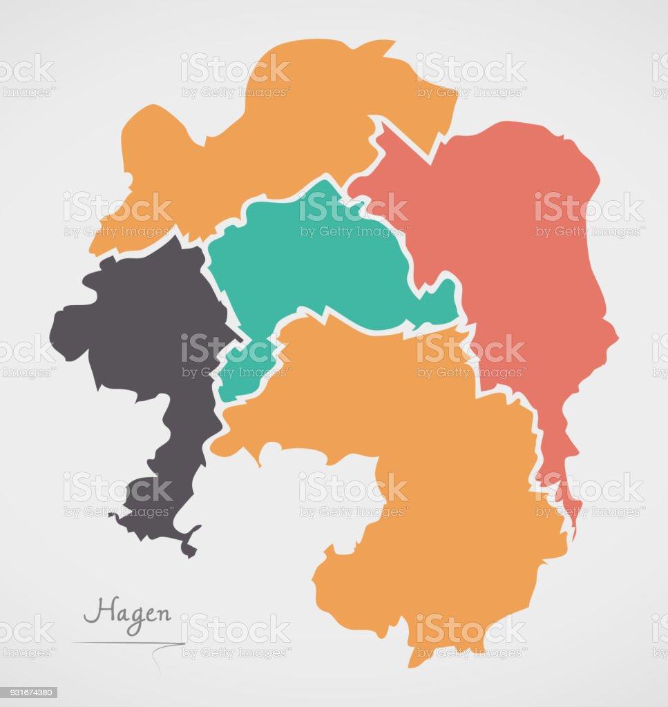 Carte Allemagne Hagen.Carte De Hagen Avec Les Arrondissements Et Les Formes Rondes