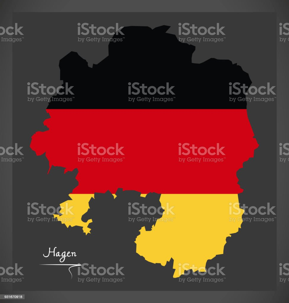 Hagen map with German national flag illustration vector art illustration