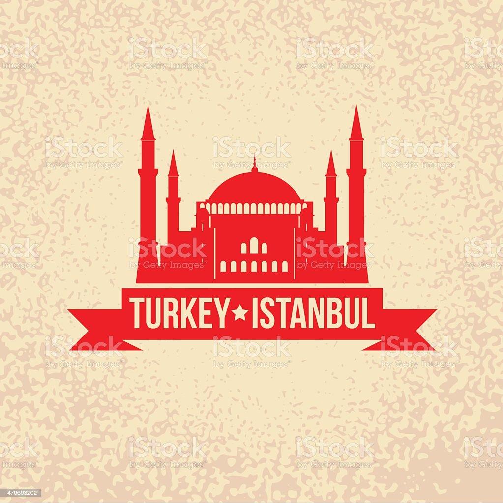 Hagia Sophia - the symbol of Turkey, Istanbul vector art illustration