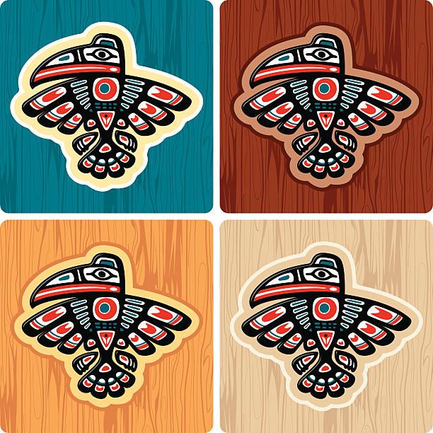 Haida style Crow vector art illustration
