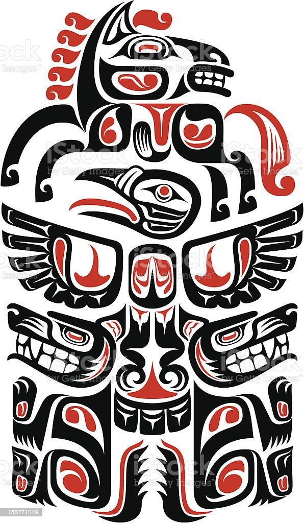 ハイダ族トーテムポール型タトゥ...