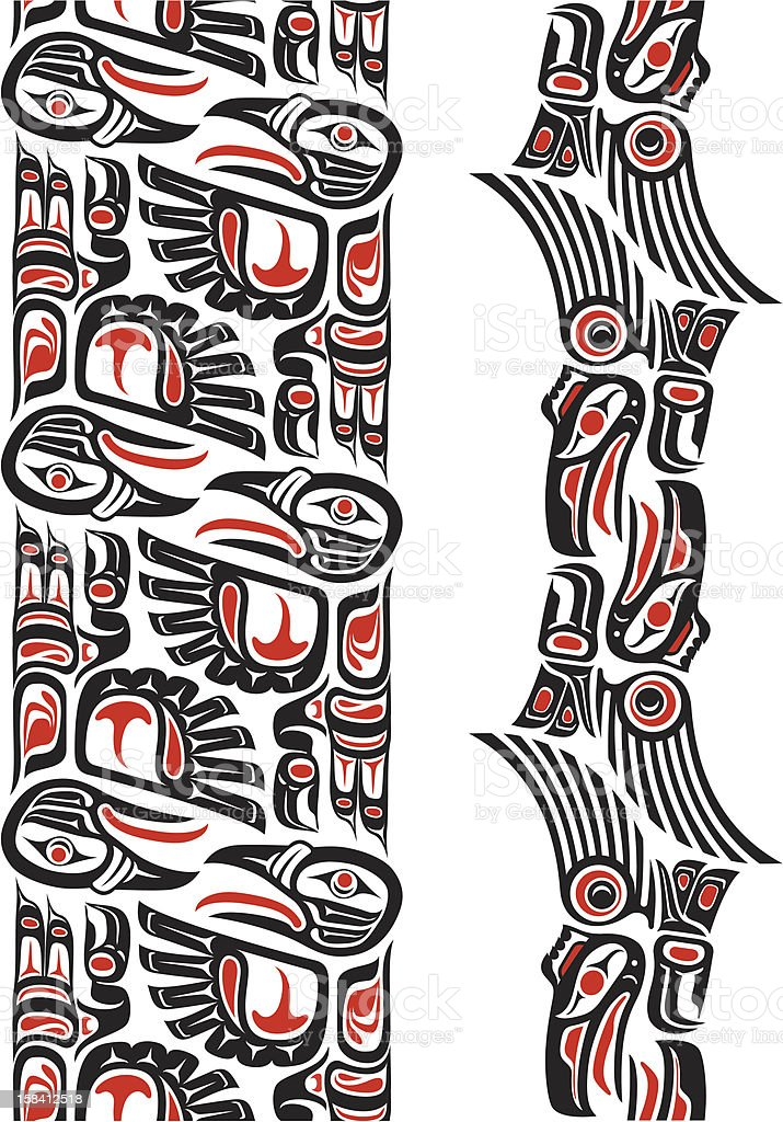 Haida style tattoo pattern vector art illustration