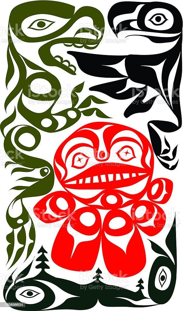 Haida Totem Pole vector art illustration