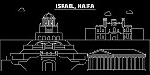 Haifa silhouette skyline. Israel - Haifa vector city, israeli linear architecture, buildings. Haifa travel illustration, outline landmarks. Israel flat icon, israeli line banner
