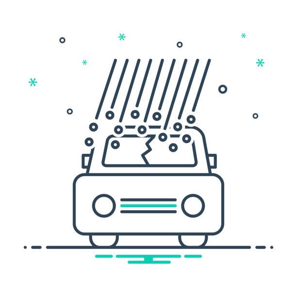 illustrazioni stock, clip art, cartoni animati e icone di tendenza di hail damage - grandine