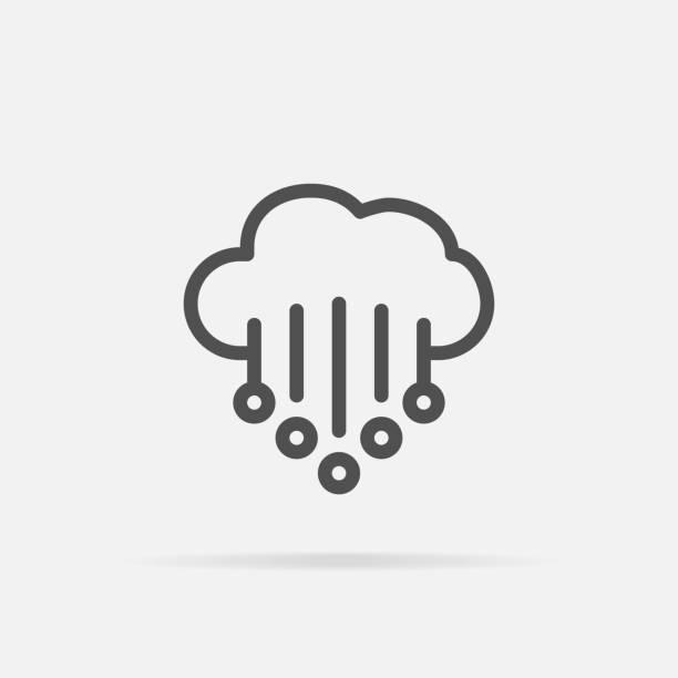 illustrazioni stock, clip art, cartoni animati e icone di tendenza di hail icon in line style. - grandine