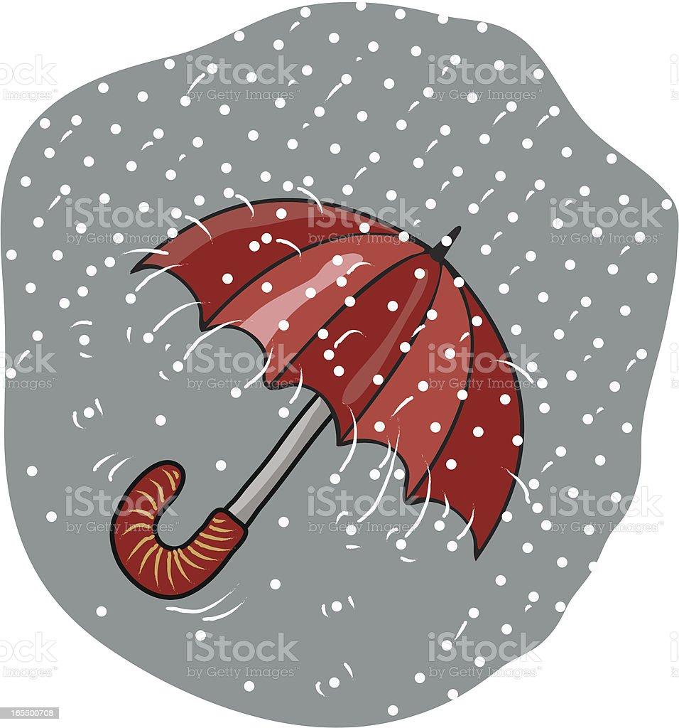 hailstorm and umbrella vector art illustration