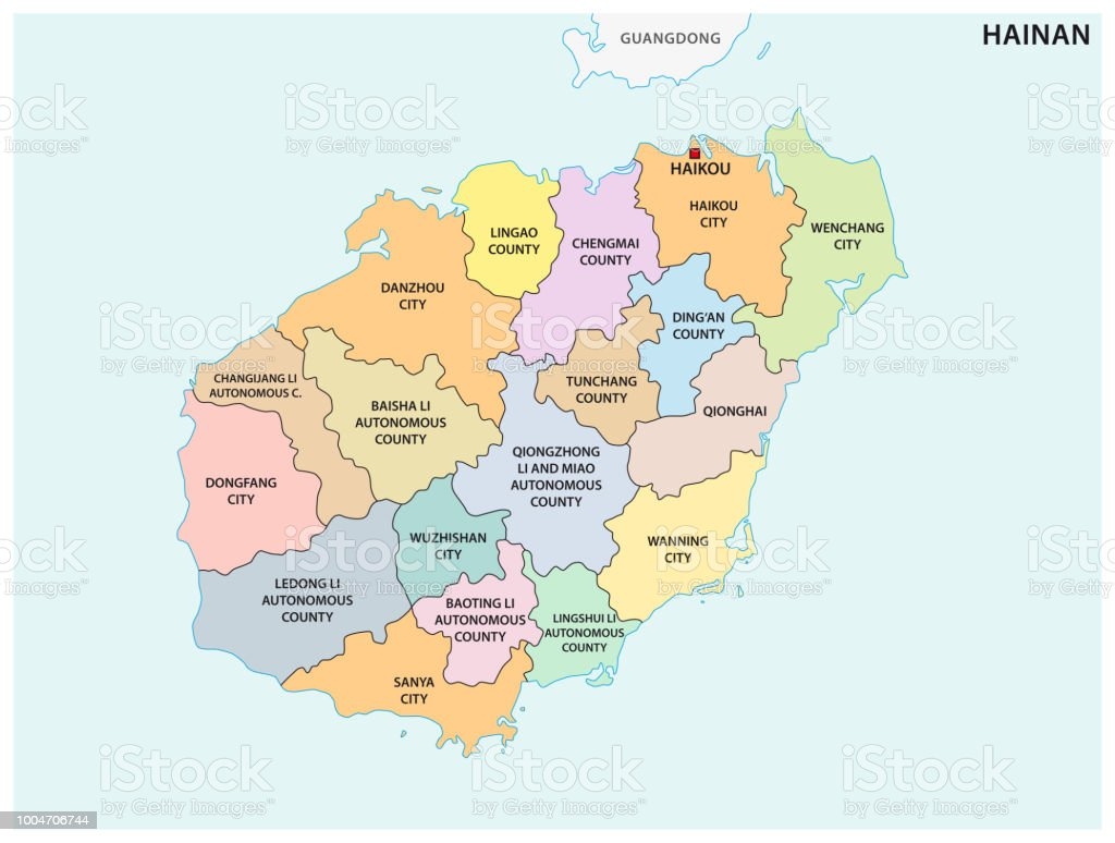 Hainan Administrative And Political Map China Stock Vector Art